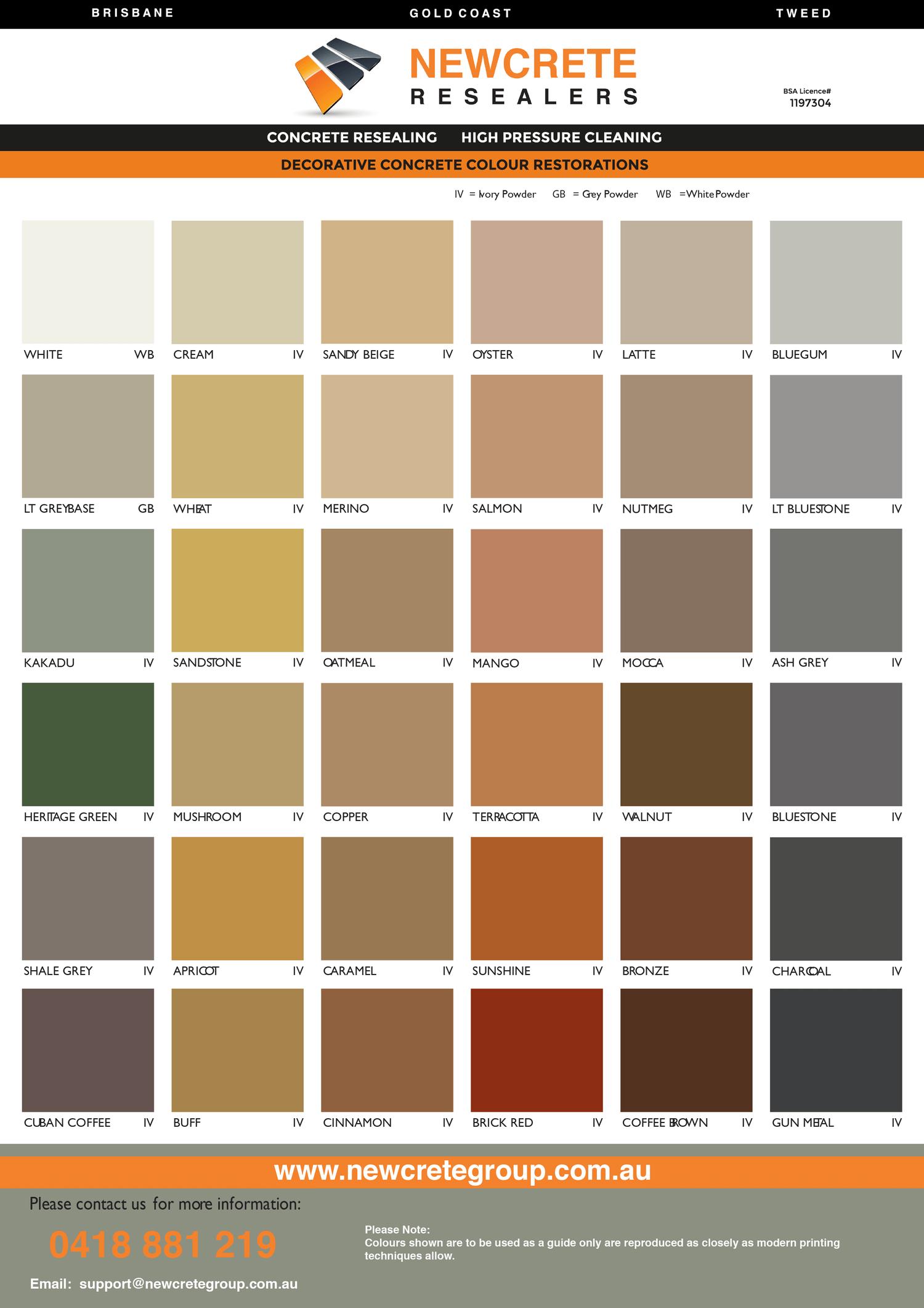 Newcrete Resealers - Colour Chart for Decorative Concrete Colour Restorations.png