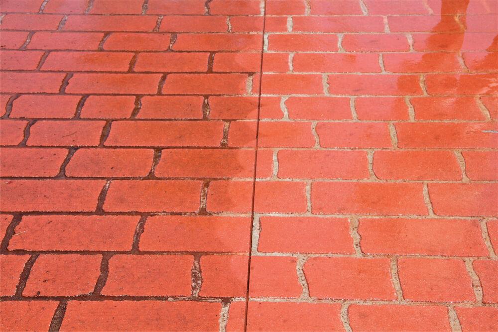 Newcrete Resealers Pressure Cleaning Gallery - Brick Floor Tiles Before and After Pressure Cleaning.jpg