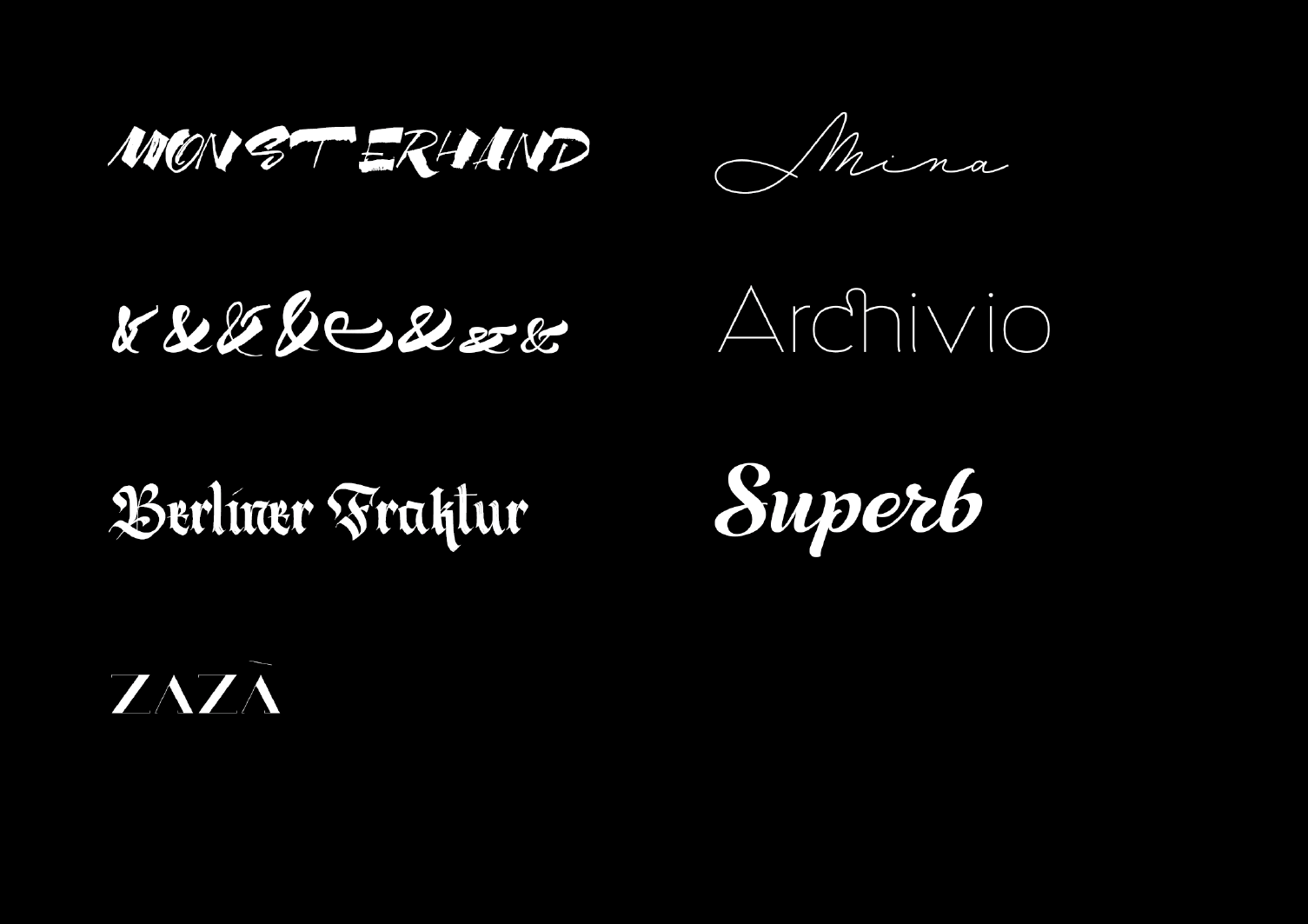 A small sample of the many beautiful retail typefaces designed and published by the Resistenza collaboration.