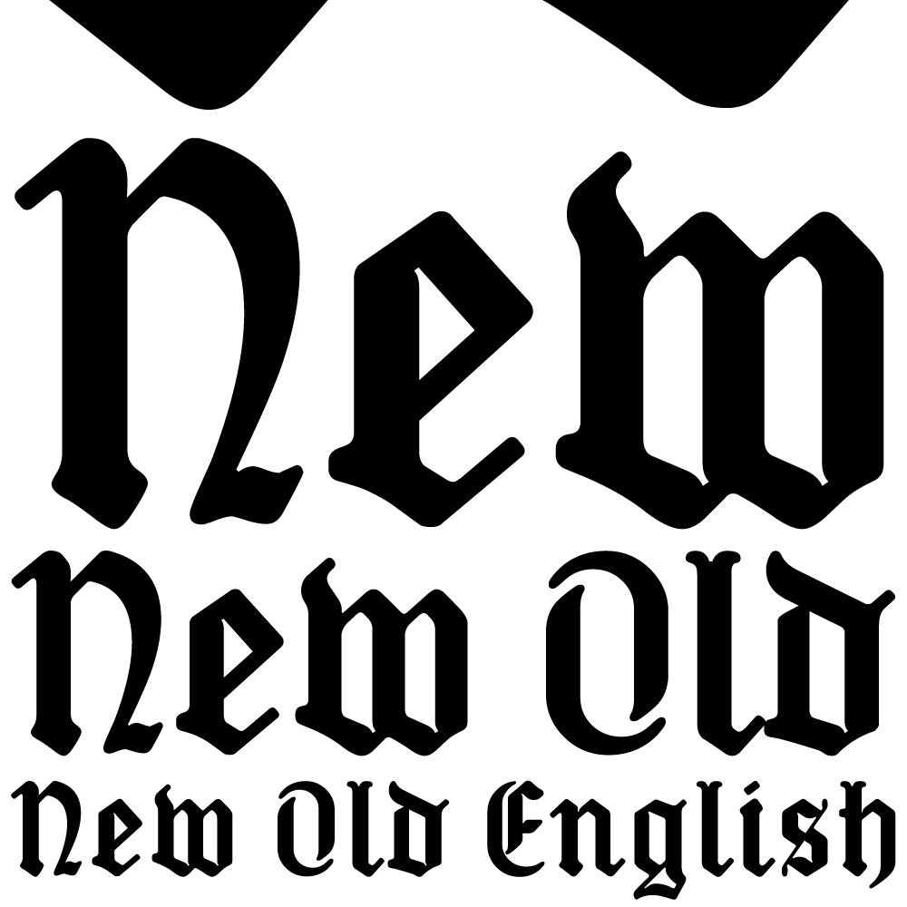 New Old English was inspired by two Victorian coins, the gothic crown and gothic florin, which featured a gothic script lowercase with quite modern-looking, short ascenders and descenders fitting snugly around the queen's head or heraldic motif. The font is an attempt to capture the round-cornered softness of the die-struck lowercase blackletter on the coins. There are thicker hairline strokes than on normal Old English, a less sharp, warmer feel than lettering scripted with a pen, and circular instead of rhombic punctuation. To increase harmony and homogeneity between the cases, the uppercase is narrower and simpler than is customary, without the excessive width or antiquated flamboyance of the traditional blackletter.