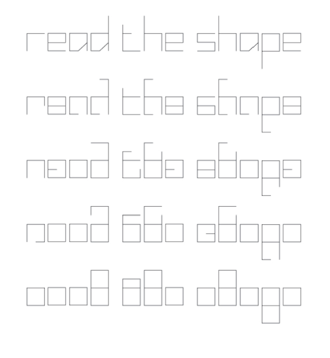 Blank (2006) -  http://barryspencerdesign.com.au/blank/  The mechanics which define Blank's character proportion above and the Blank typeface's characters below.