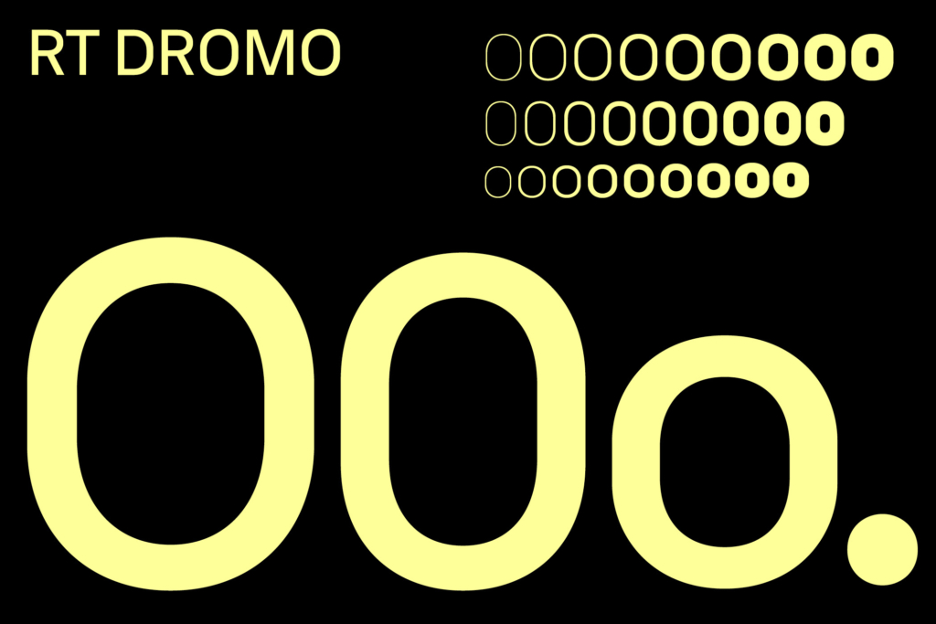 The straight segments in the round letters are remains of RT Dromo's origin, and add a technical touch to the overall feeling of the typeface. Being the most significant characteristic of RT Dromo the resulting dromic shapes also give the typeface it's name.