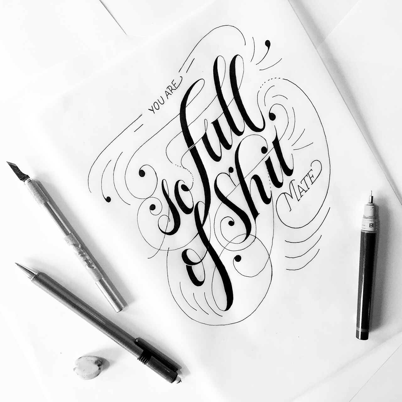 """Post number #27:  """"You are so full of shit (mate)"""" Hand lettering artwork using a Rotring Rapidograph."""