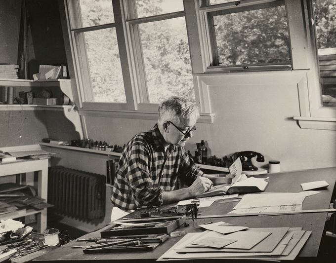 W. A. Dwiggins in his studio, 1940s