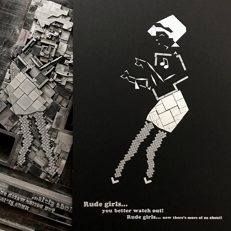 Rude Girl, with her clean, black & white sweater paired with pencil skirt, grooving to ska and rocksteady, came first. This classic image is already so graphic it felt like an easy place to start; it helped establish the use of white/negative space as part of the design itself.