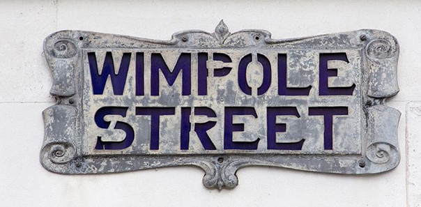 Wimpole St (W1, City of Westminster) cartouche in lead with stencil lettering and an enamel blue blacking.