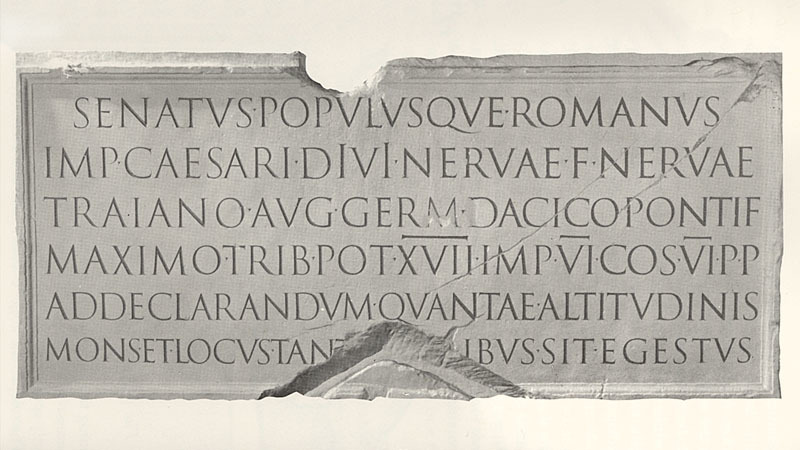 Inscription from Trajan's Column, AD 113. Reproduction cast shown in  The Origin of The Serif  by Rev Edward M Catich, 1968.