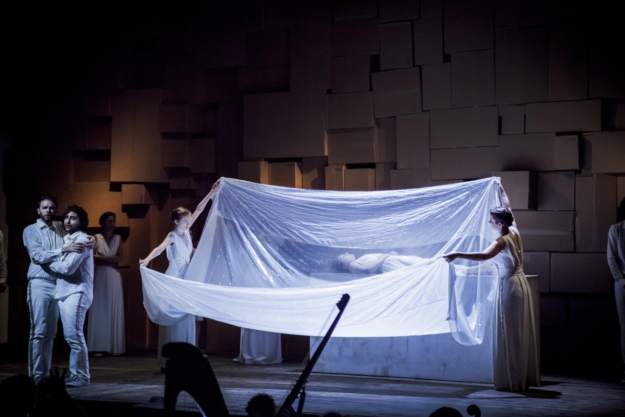 "L'Orfeo by Claudio Monteverdi · As ""Pastore"" with Benjamin Ingrao · Ouverture Opera | Daedalus ensemble · Conductor: Roberto Festa · Regie: Olivia Seigne · September 2016 · Foto by © Foppe Schut"