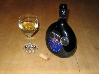The traditional 'Bocksbeutel' wine bottle of the Franken wine region.