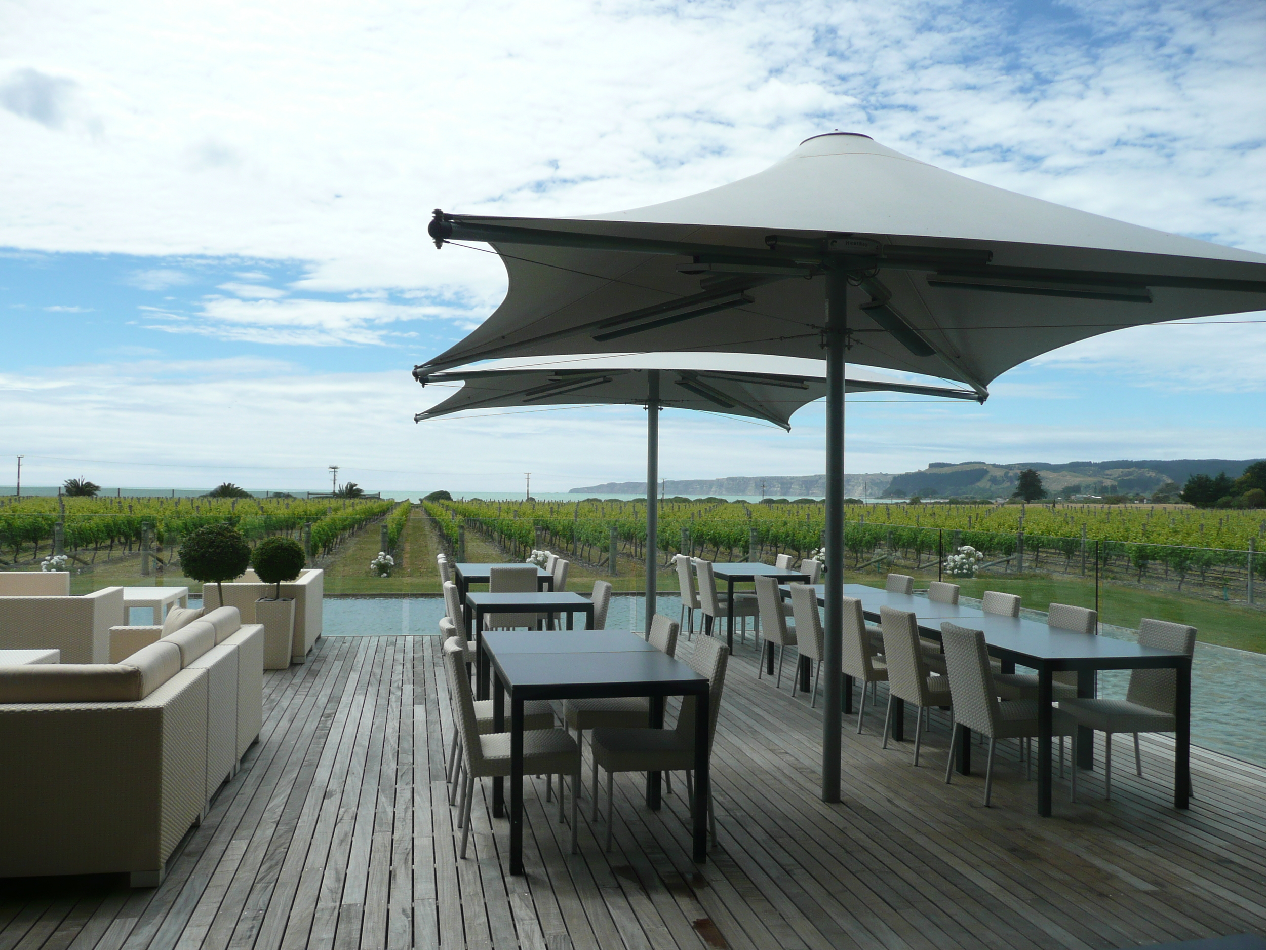 Elephant Hill Winery  looking out at Hawke Bay and Cape Kidnappers.