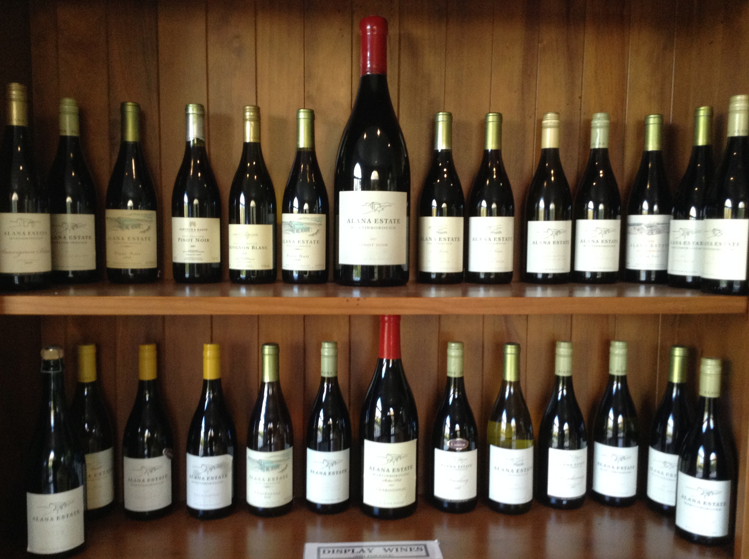 A lovely display in the cellar door of previous Alana Estate wines.