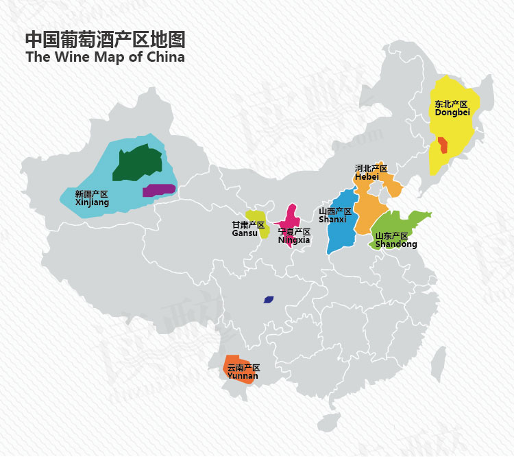 The major wine regions of China. Map credit :  Duzui360