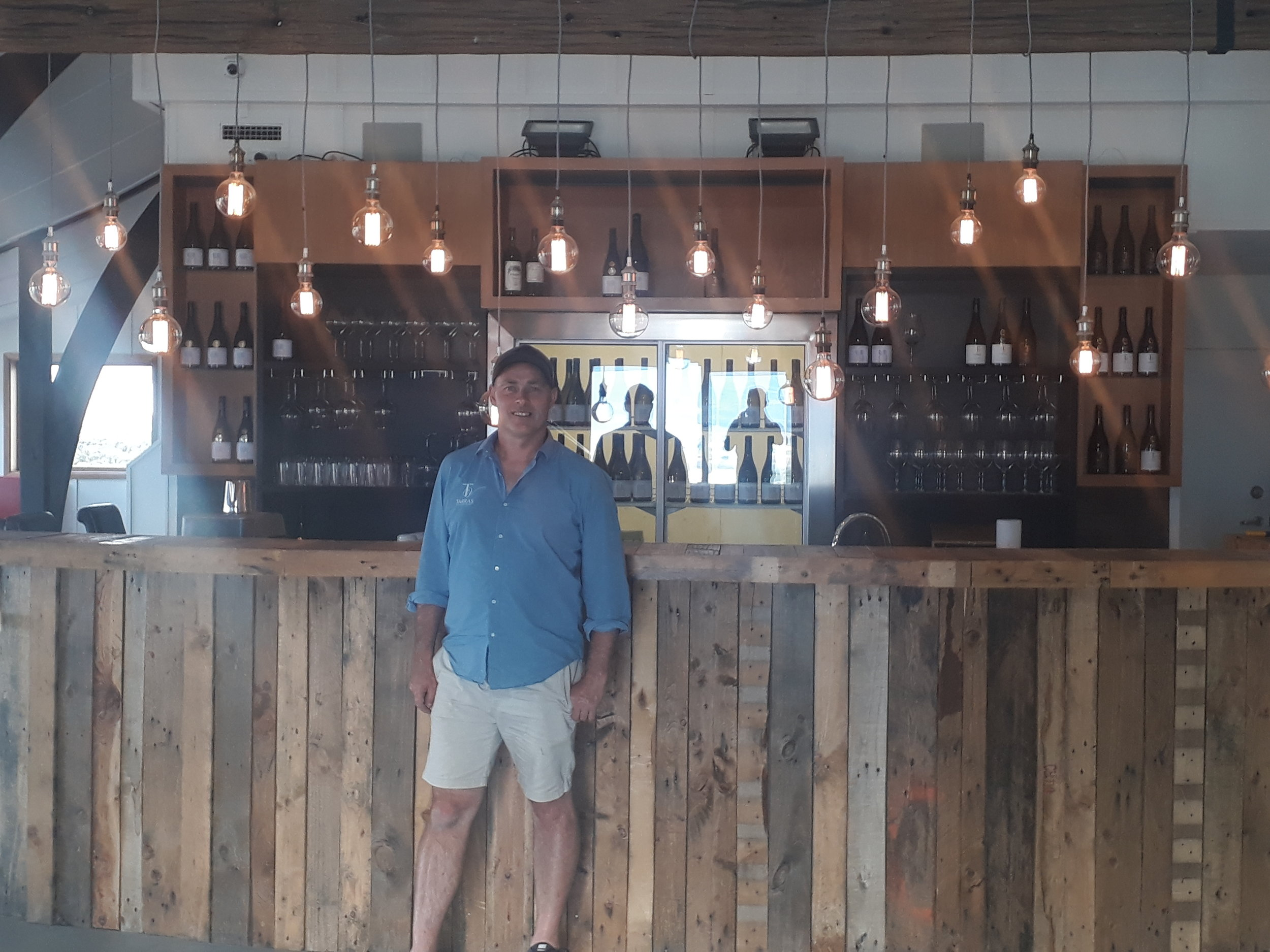 "Tarras Vineyards Founder Hayden Johnston in his new venue under construction ""The Canyon""."
