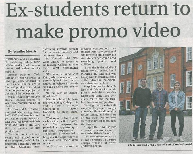Surrey Advertiser 3rd July 2014 - In relation to the Godalming College promotional video