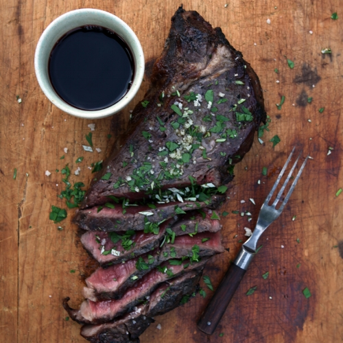Dry-aged Steak Cooked on Hot Coals