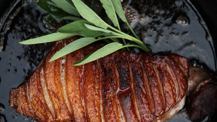 Cooking with Fire  - Duck Breast Seared Over a Hot Fire with Pears and Sage