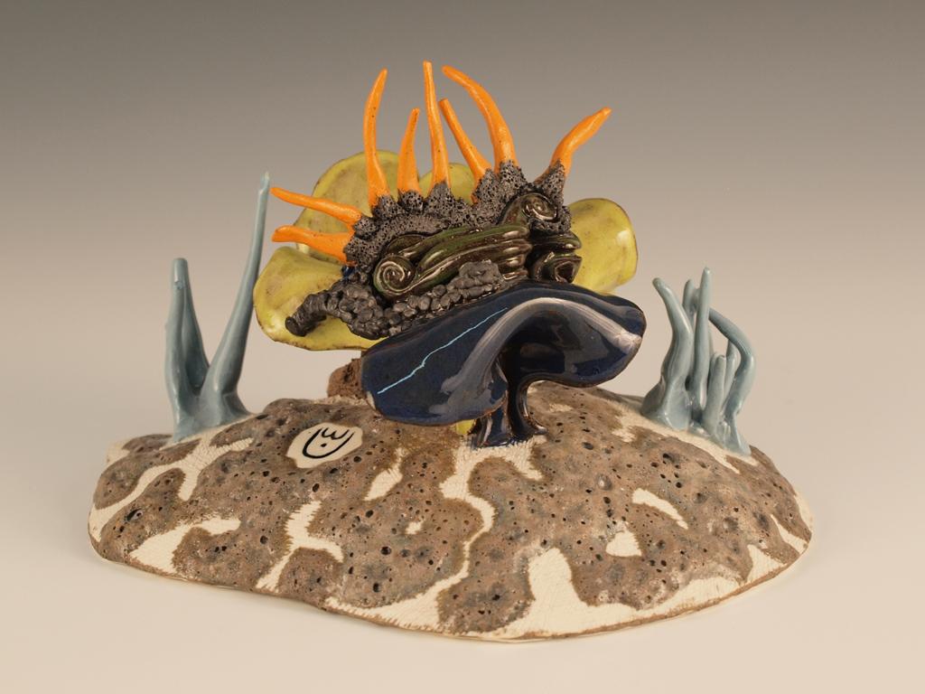 "Space Gazelle  , 2013  5"" x 6"" x 8""  glazed stoneware & porcelain   Carol Eisner Award Winner"