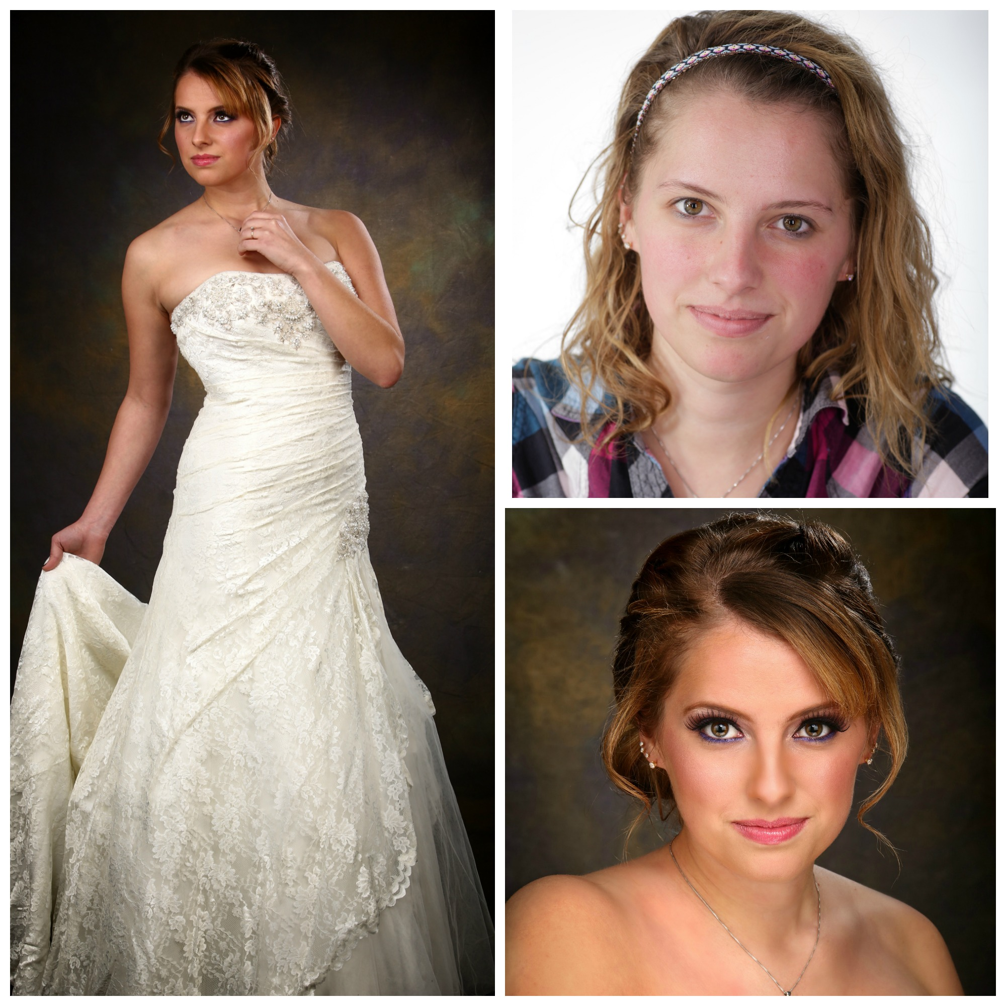 Before and after hair and makeup. Makeup by Krystal Salisbury