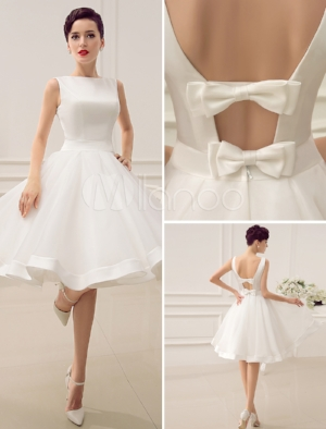 Short Wedding Dress Vintage Bridal Dress 1950's Bateau Sleeveless Reception Bridal Gown Milanoo