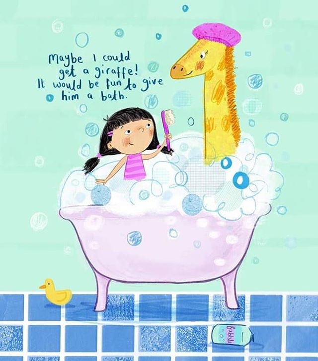 Maybe I could get a giraffe it would be so fun to give him a bath. (KT Pearson)  #childrensillustration #childrensbooks #picturebooks #giraffe