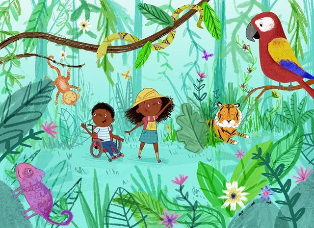 Into the jungle 🌿🐍🐯 #childrensillustrations #picturebook #representationmatters #jungle