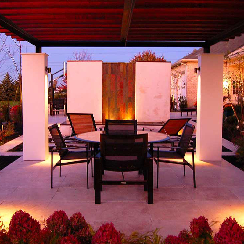 Contemporary modern pergola, water feature, outdoor kitchen, Travertine patio, Outdoor fireplace York Pa.