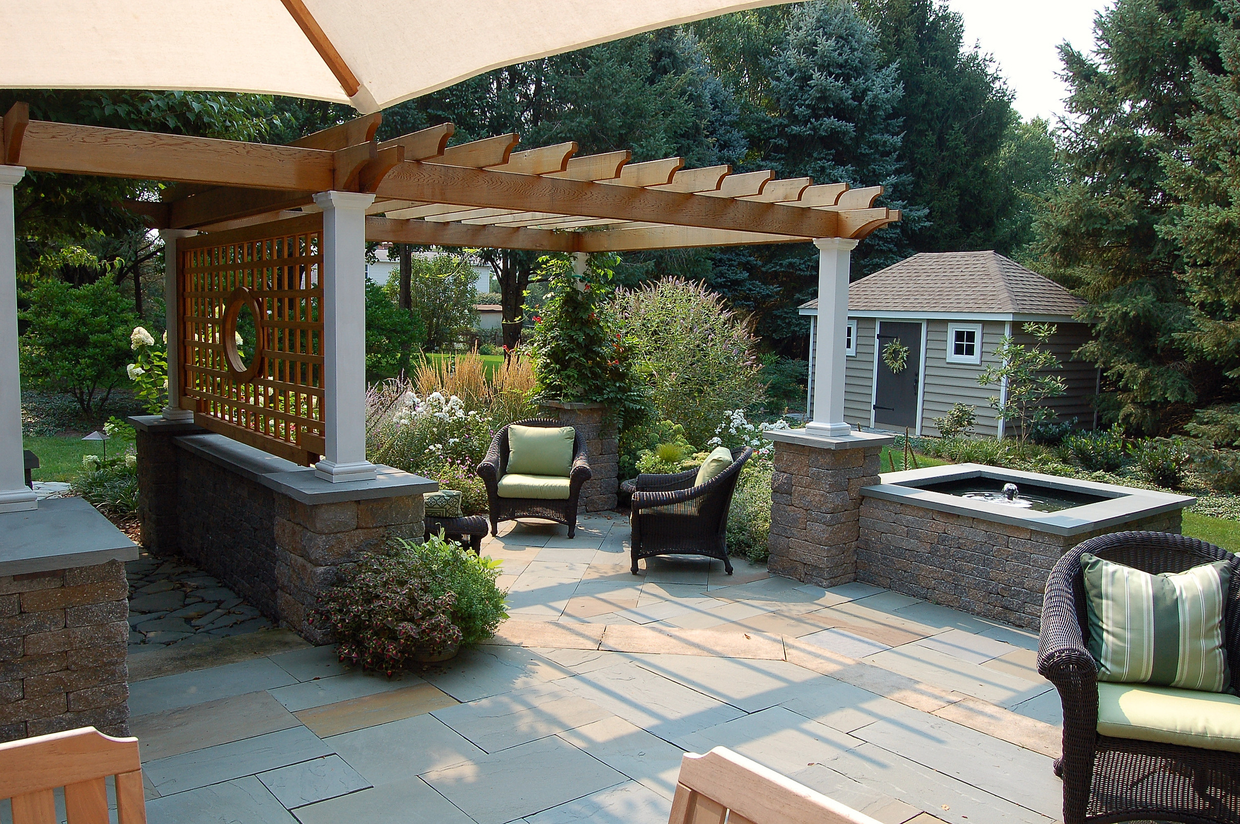 Patio design with water feature, Lititz, PA