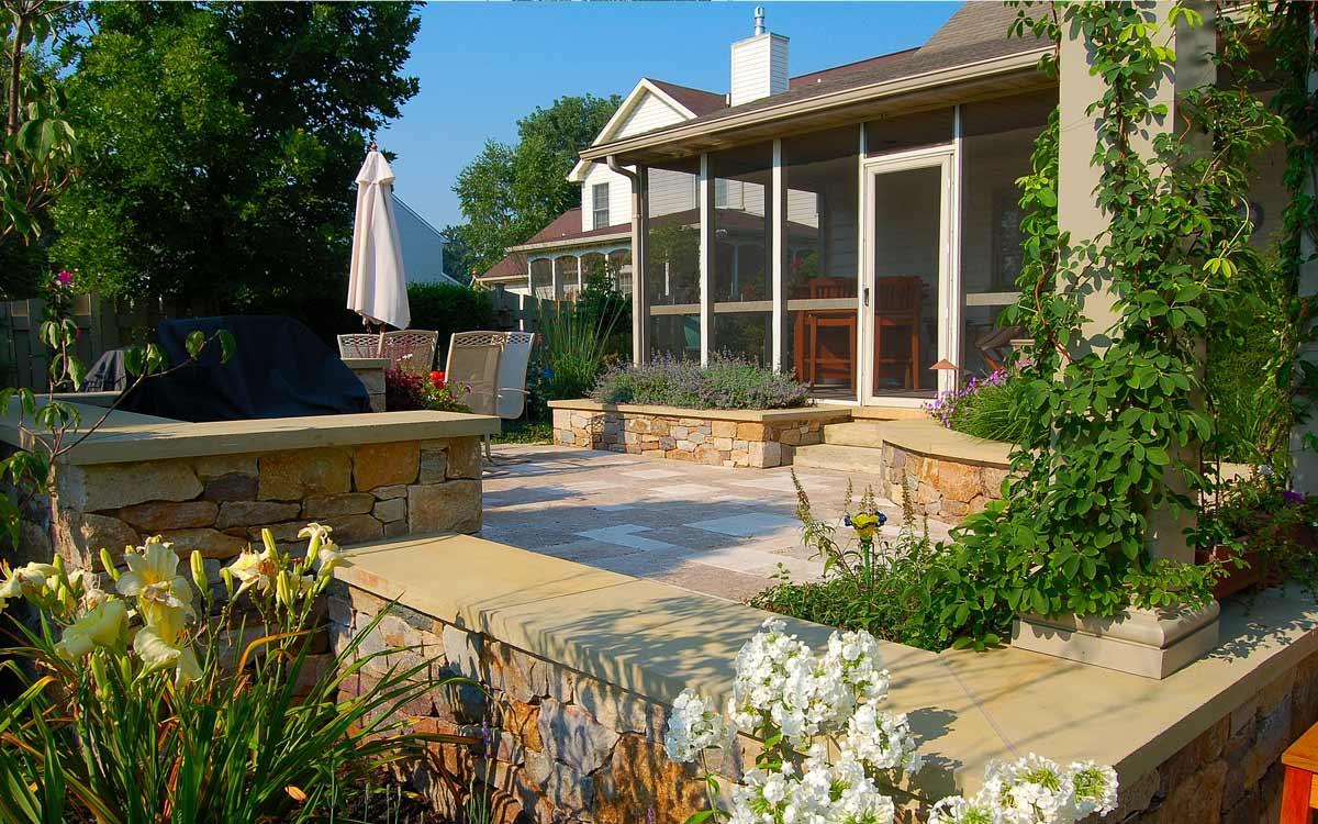 Three season screen porch and garden