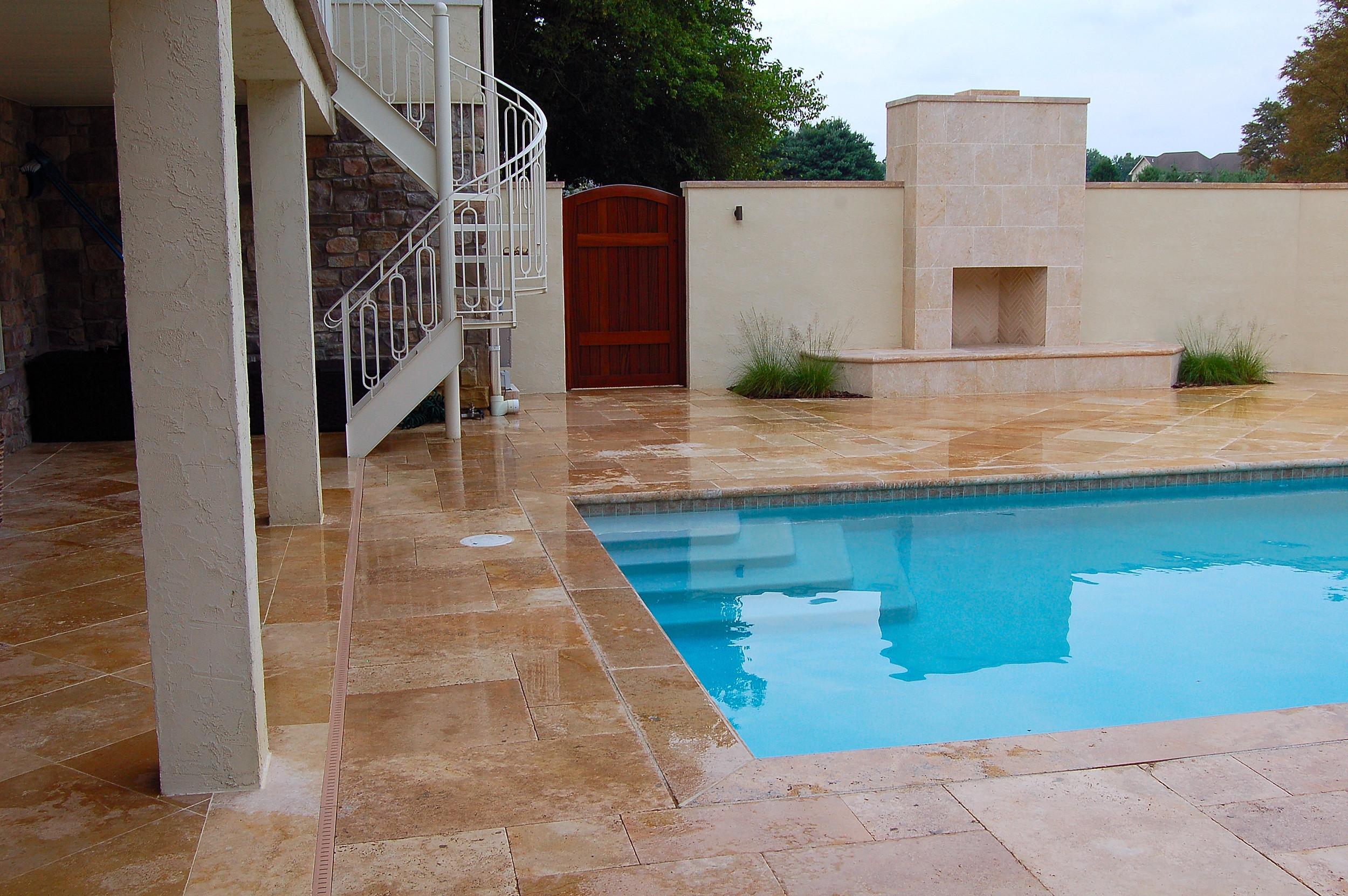 Mediterranean style swimming pool design in Millersville, PA