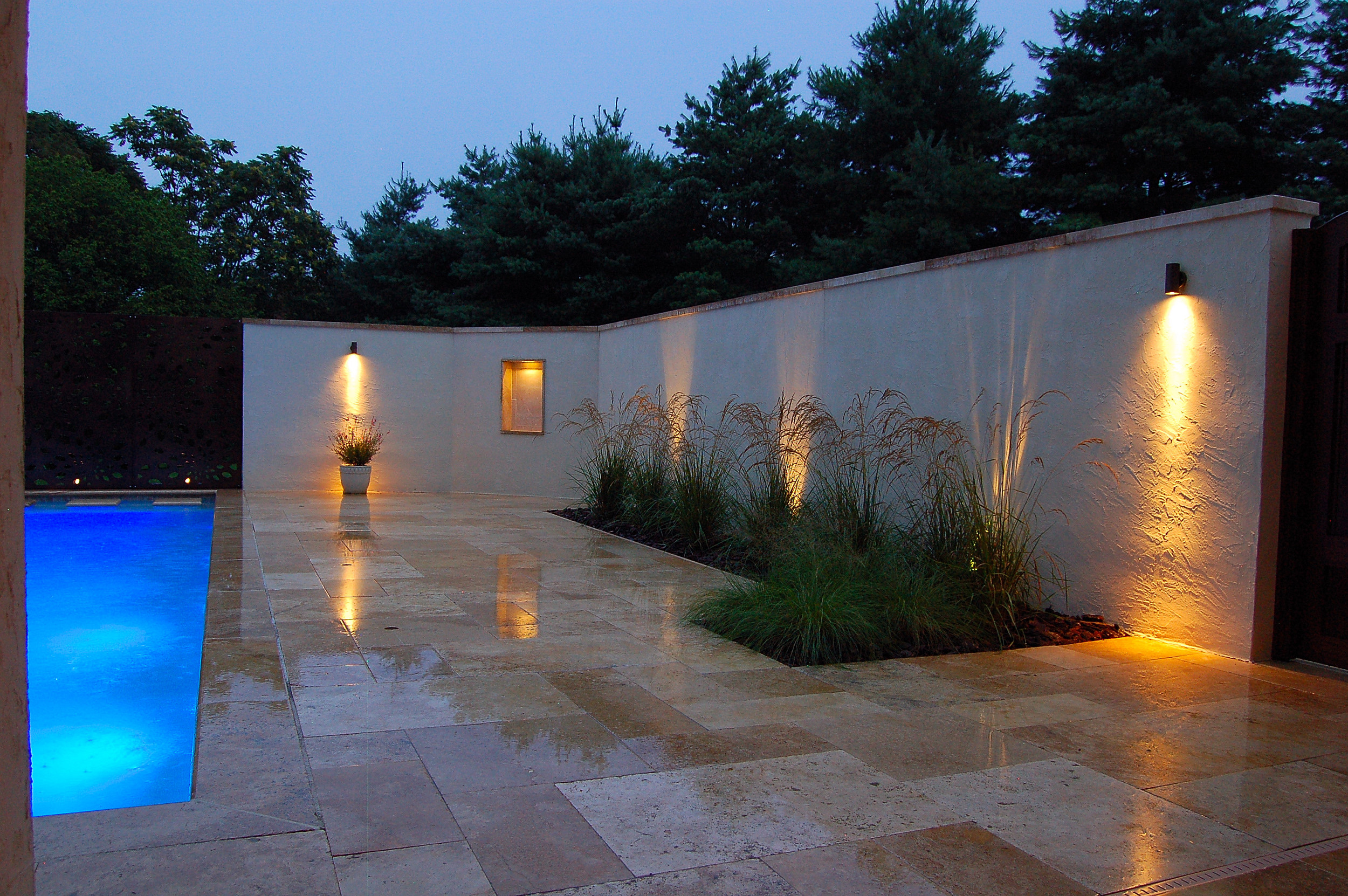 Mediterranean style stucco privacy wall