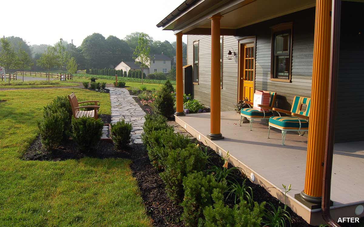Before and after Landscape pictures by Fernhill Landscapes.