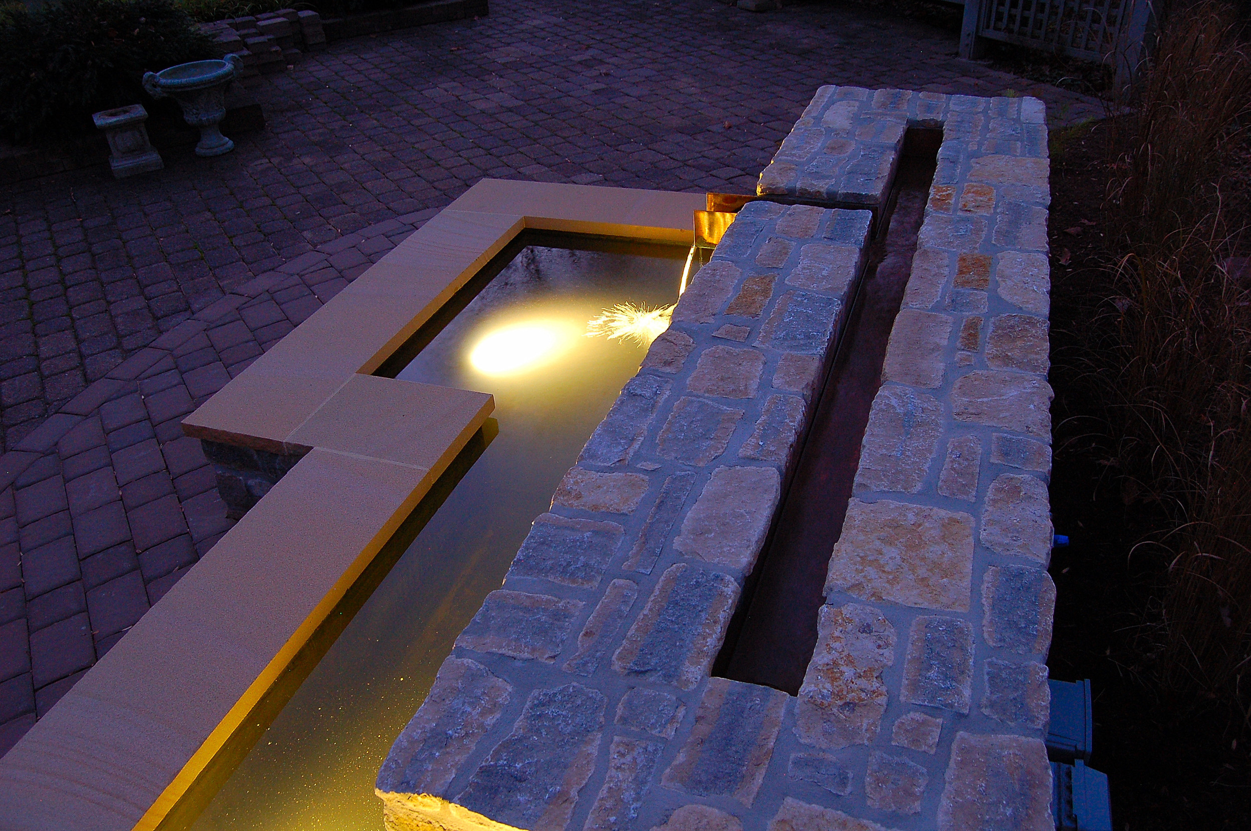 Water Feature with Copper Scupper