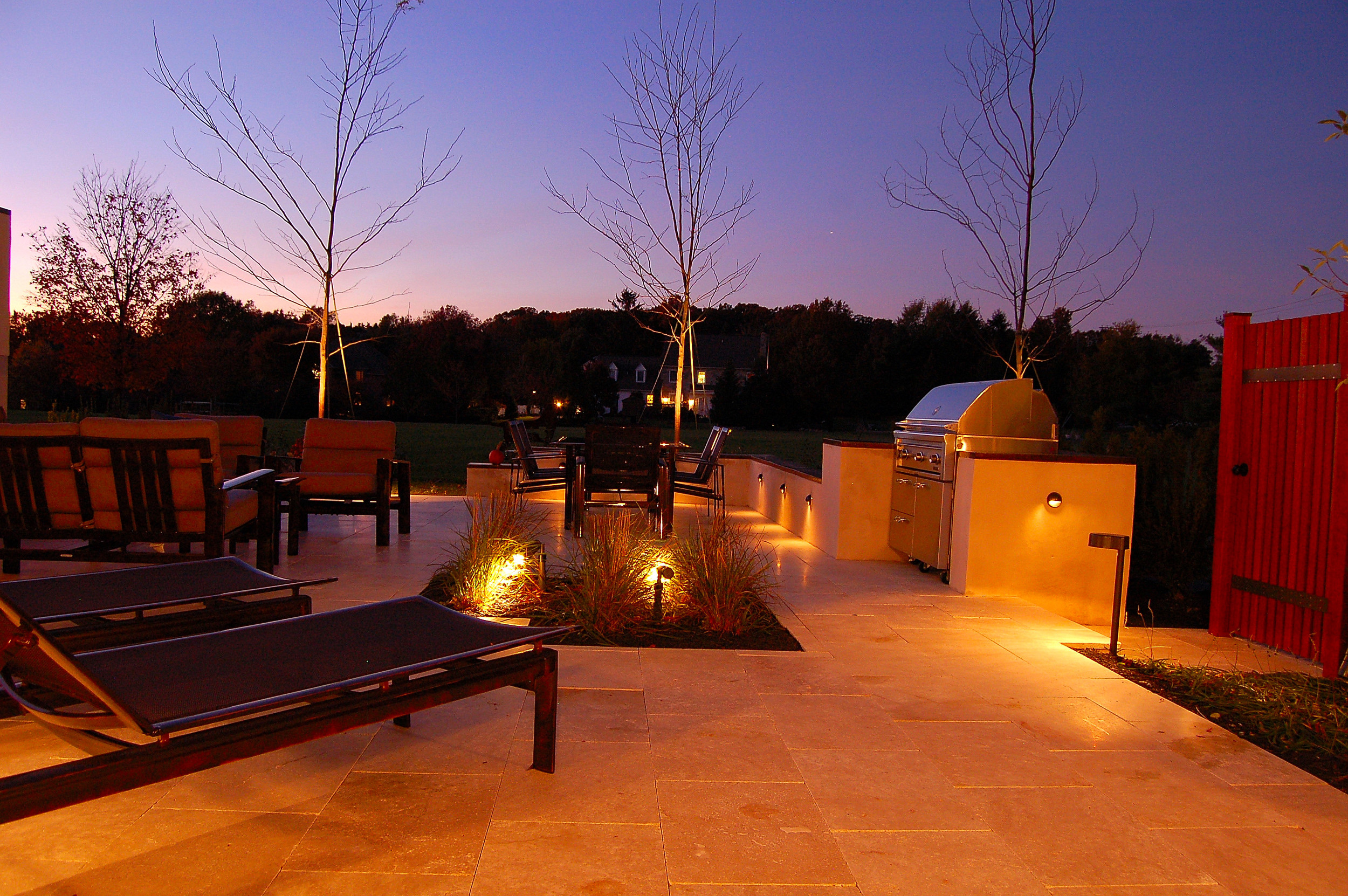 Night view of landscape design and gardens in York, PA.