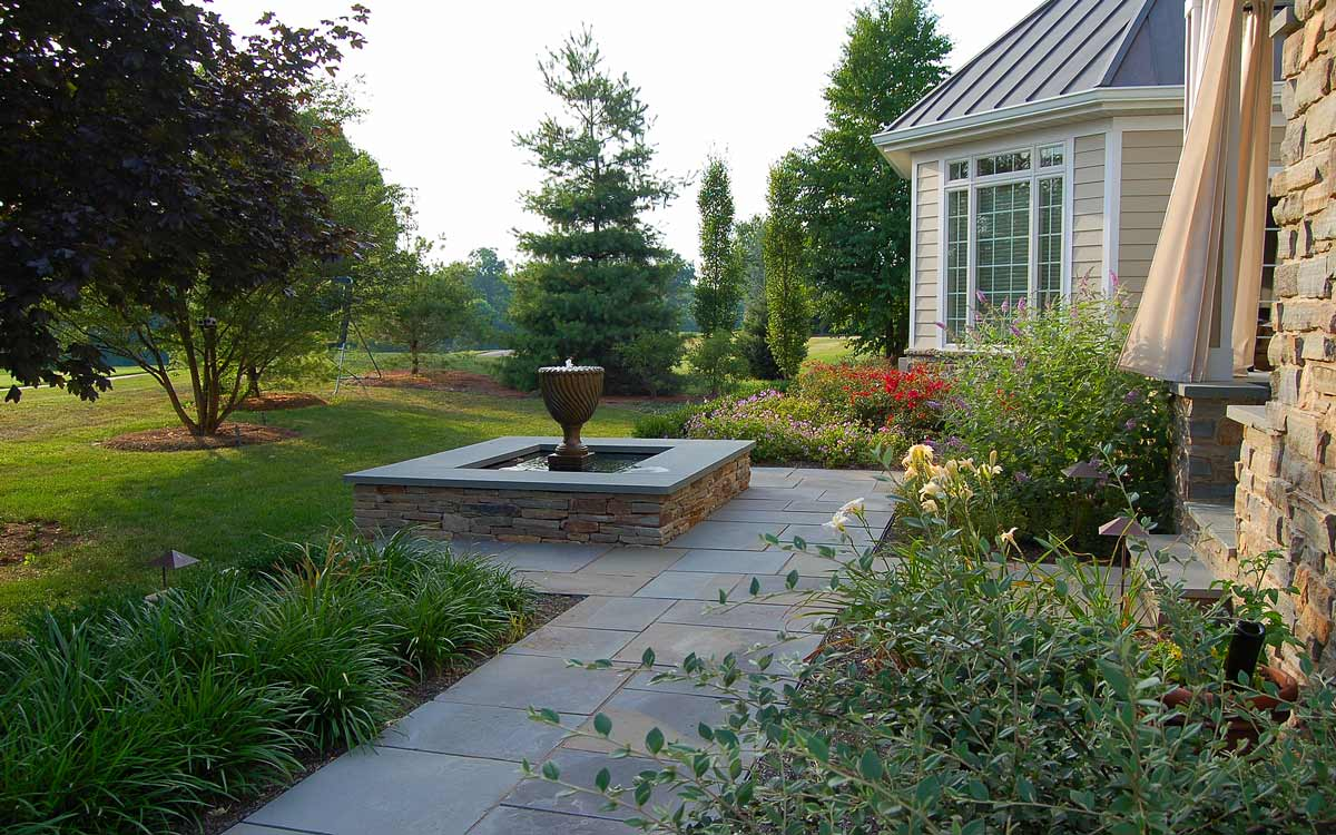 Flagstone patio and fountain in Lancaster Pa.