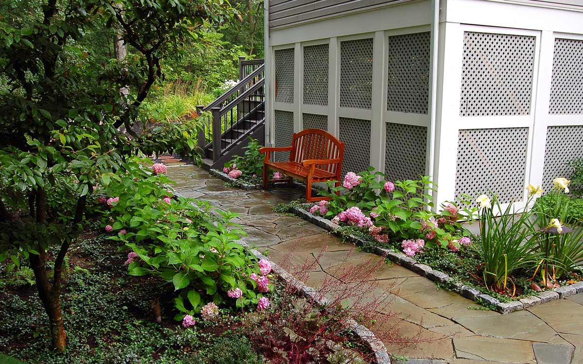 Fieldstone Garden path with cobblestone edging