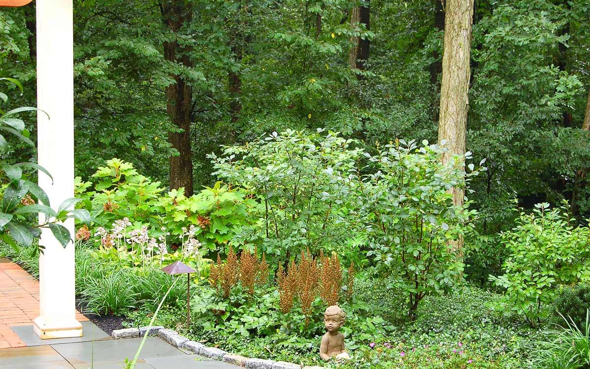 Perennial garden design surrounds the outdoor living space