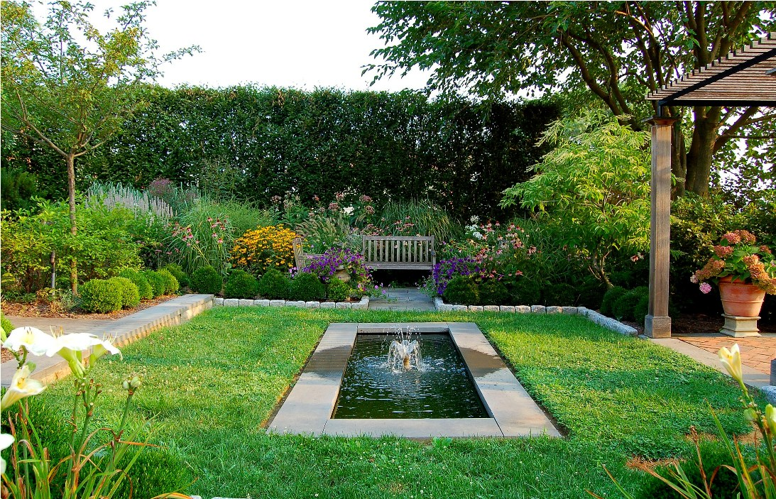 French-inspired garden with fountain