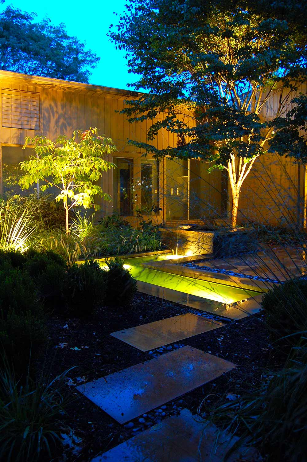 Enclosed contemporary garden and water features