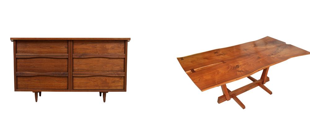 Work by the American woodworker/artist George Nakashima fetches high prices in todays market .These one-of-a-kind pieces are more like sculptures that enliven any style of interior.