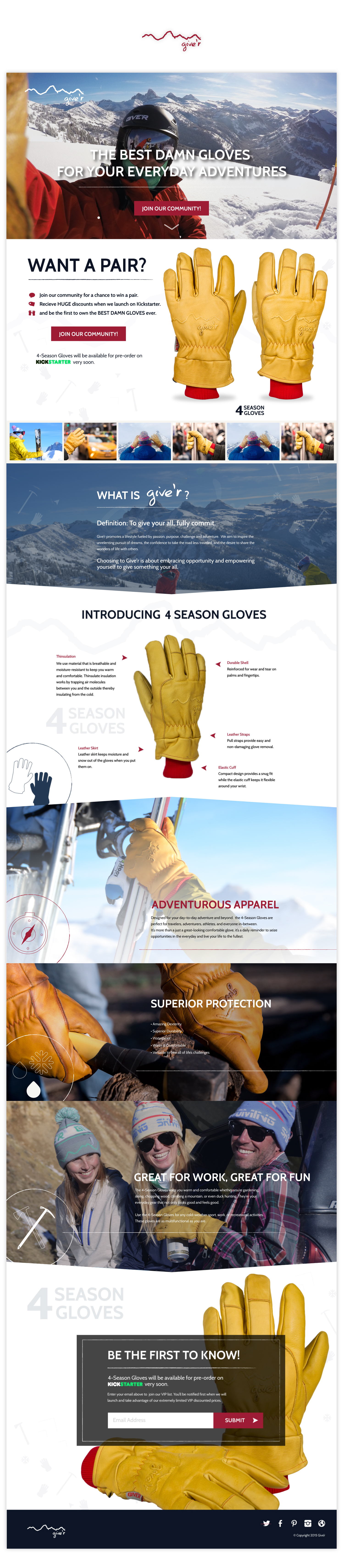 Giver Gloves Promoting Landing Page