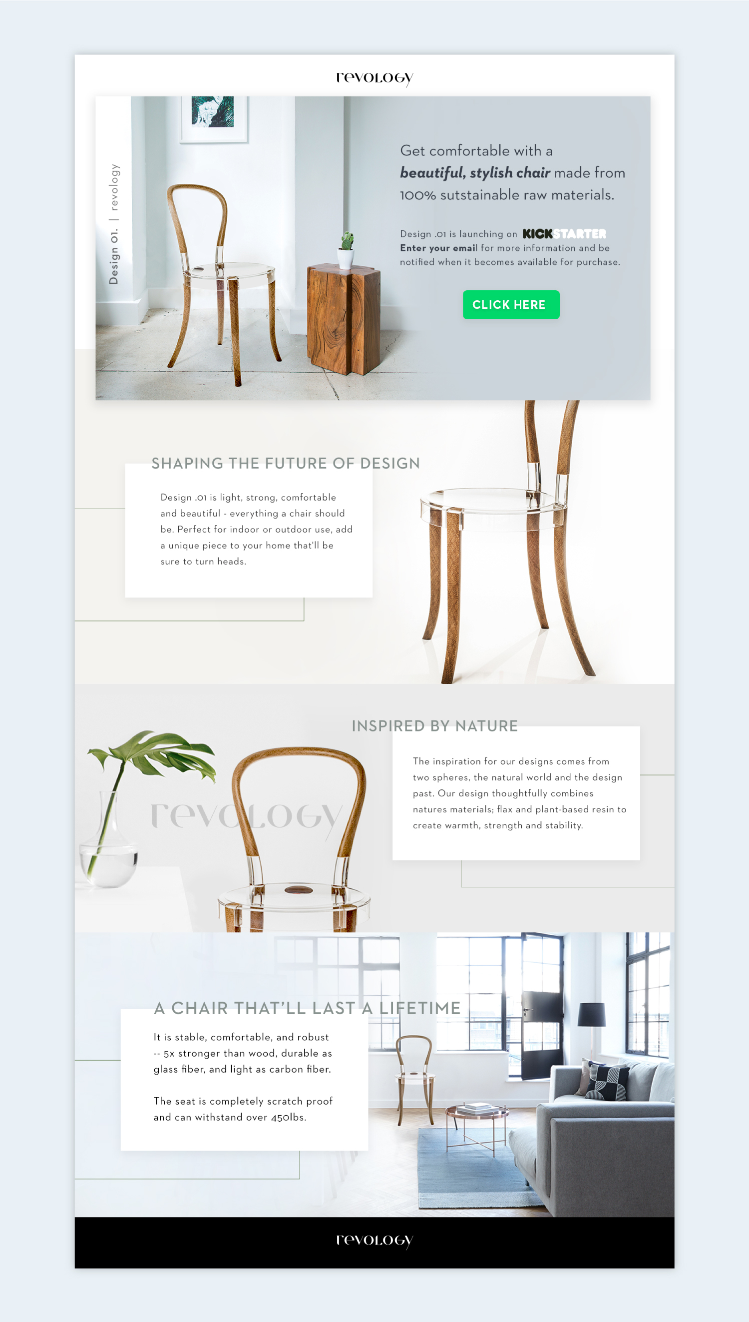 Revology Chair Promoting Landing Page