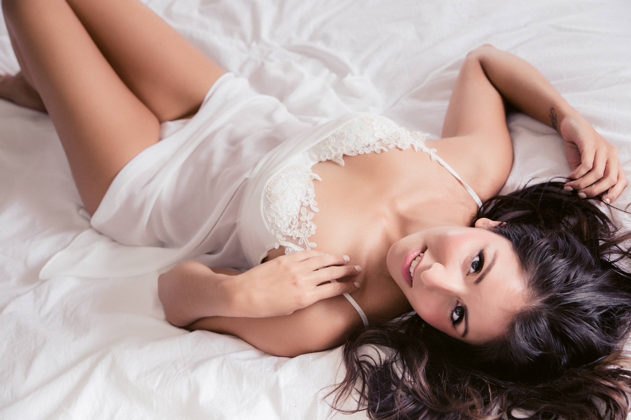 """This white chemise is   """"In Bloom by Jonquil"""" and was provided by   Bits of Lace for this  Charleston, SC Boudoir Session."""