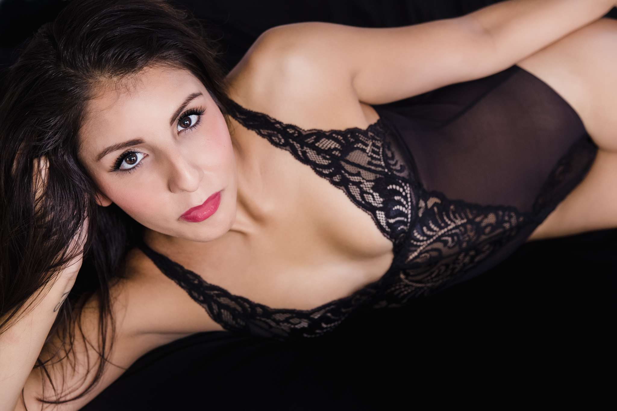 """This black bodysuit is   """"Natori"""" and was provided by   Bits of Lace for this Charleston, SC boudoir session."""
