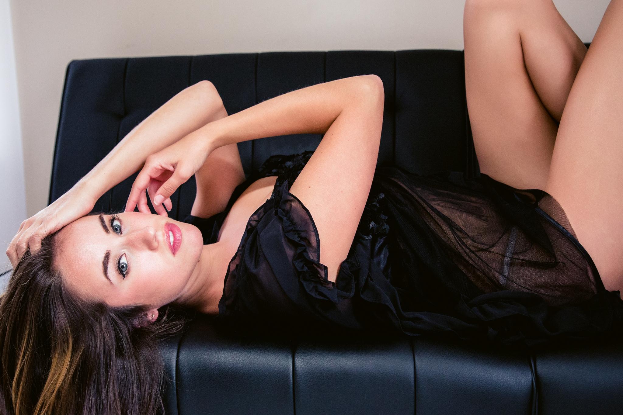Sexy dark lingerie boudoir shoot by Boudoir by Marie in Charleston, SC.