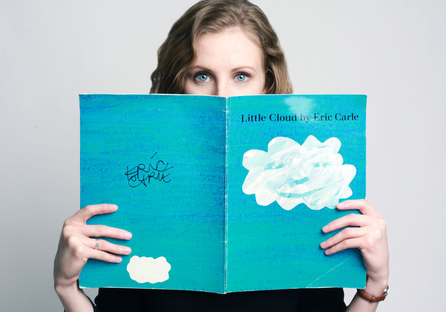 "The essence I embrace… ""Are my eyes."" Leah. Little Cloud by Eric Carle represents her dream to be children's art teacher."