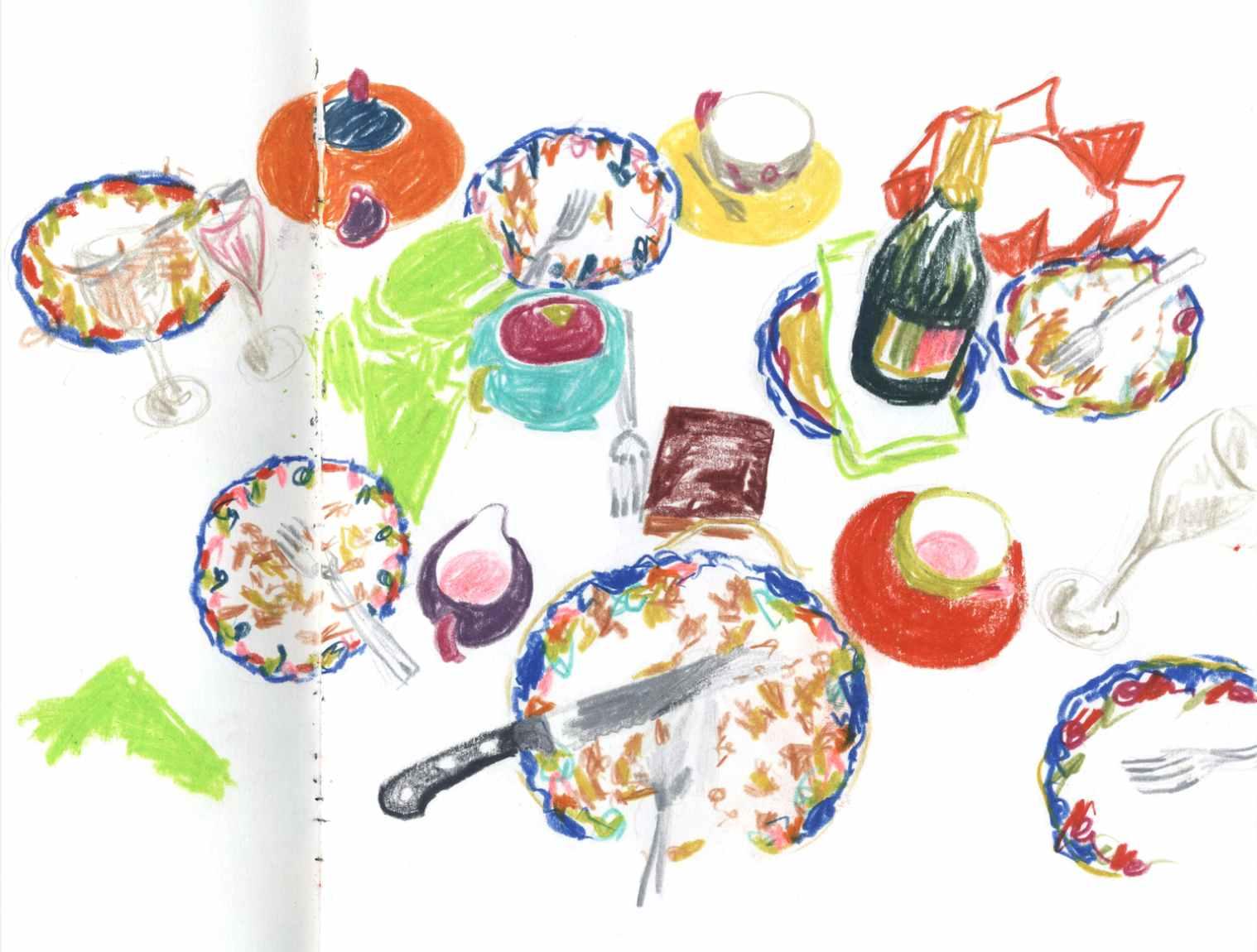 Sundays , 2010 crayons on paper,sketchbook 59,4 x 42 cm