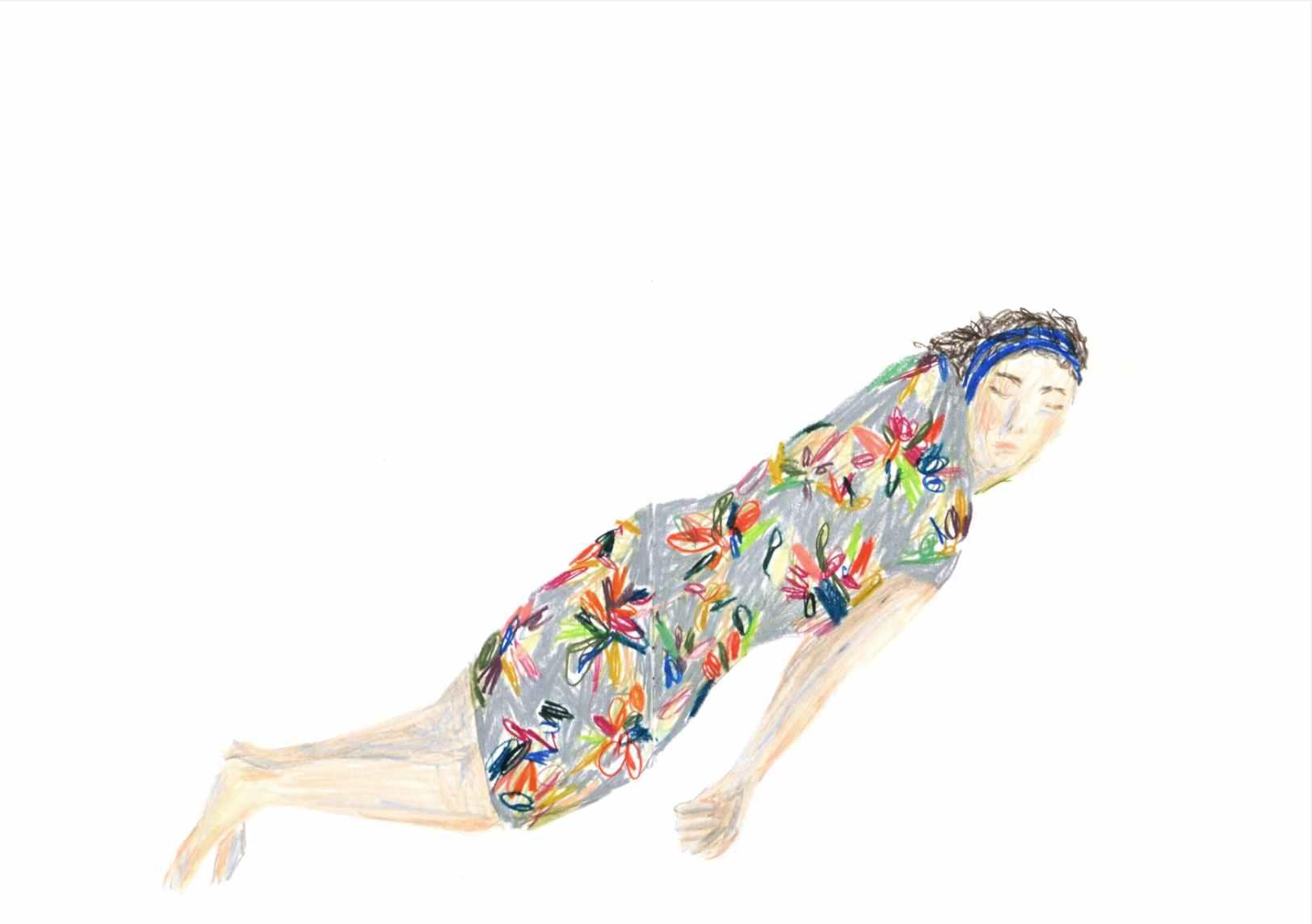 Asleep , 2012 crayons on paper,sketchbook 59,4 x 42 cm