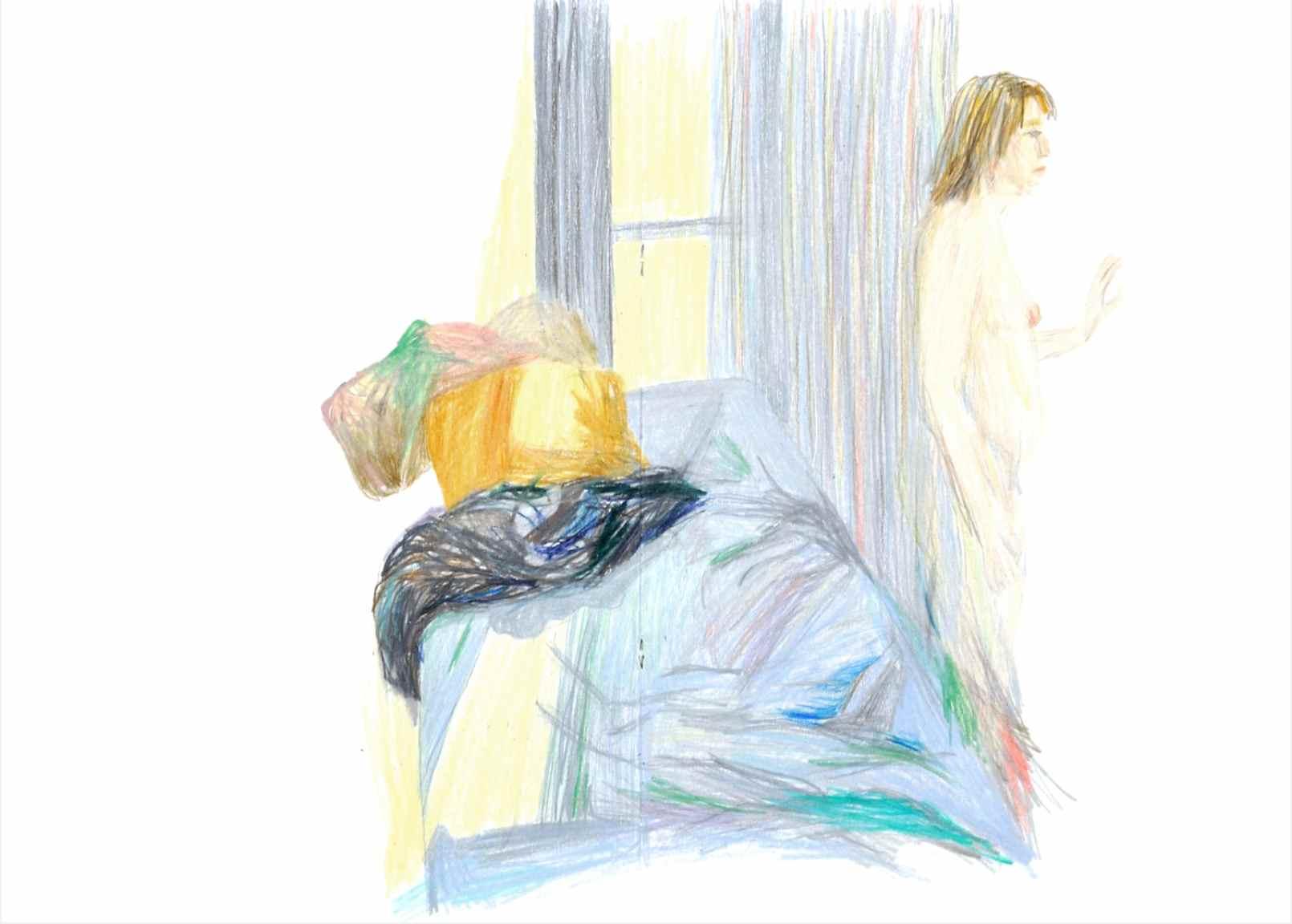 Sleepwalking , 2012 crayons on paper,sketchbook 59,4 x 42 cm