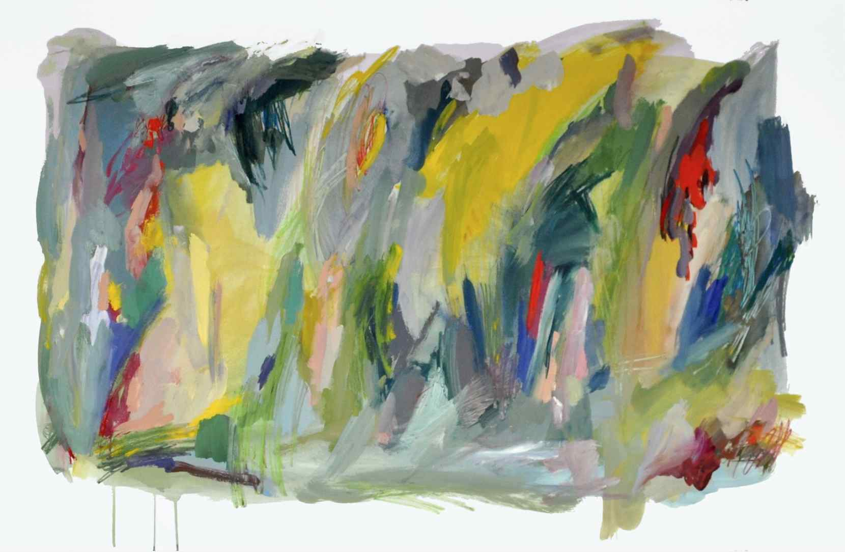 Fall , 2013 gouache, acrylic and crayons on paper 75 x 105 cm