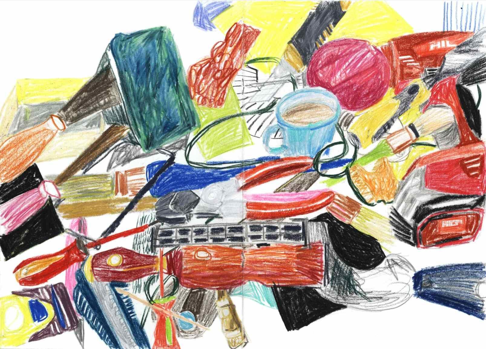 Tools ,2010 crayons on paper,sketchbook 29,7 x 42 cm
